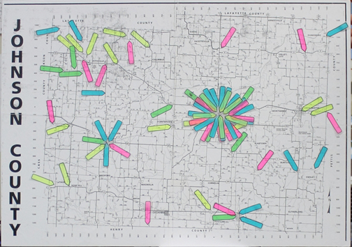 (Photo by Brandon Pedersen, digitalBURG) This map marks 71 communications incidents that were recorded after the switch to narrowbanding on March 1. Most of the incidents are concentrated around Warrensburg.
