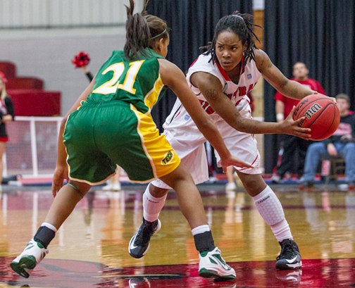 (Andrew Mather, digitalBURG) Junior BreAnna Lewis again led the Jens with 21 points Sunday.