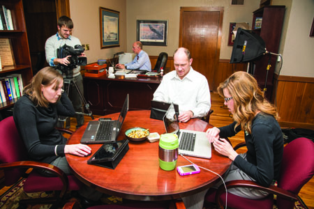 Courtney Niemuth, Eric Hughey, President Ambrose, Robin Krause and Heather Hickerson manned the #AskAmbrose feed. (Photo by ANDREW MATHER, Photo Editor)