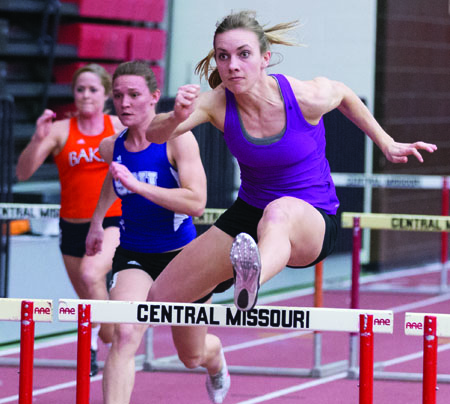 Former Jennies track and field athlete Lindsay Lettow competing in the 60m hurdles at the Mule Relays Feb. 1. (Photo by ANDREW MATHER, Photo Editor)