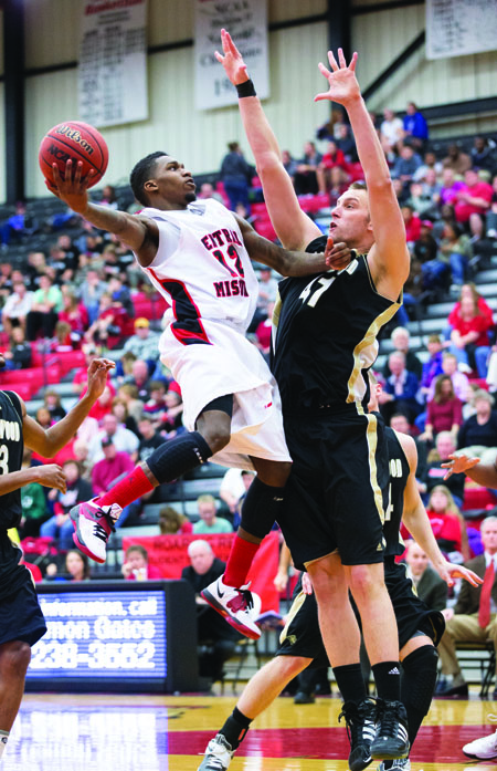 Senior Widgett Washington goes up for a layup against Lindenwood Feb. 13. (Photo by ANDREW MATHER, Photo Editor)