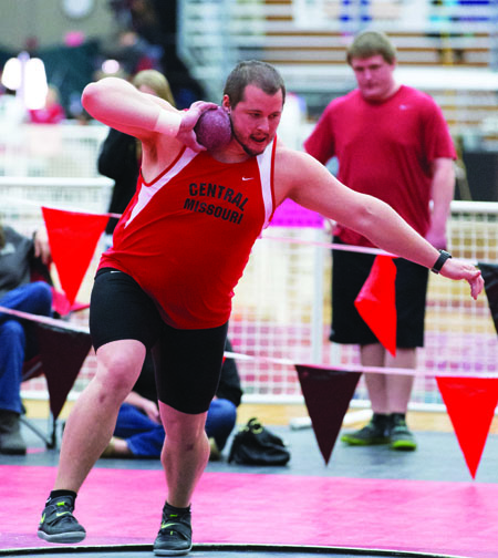 Senior thrower Zak Thompson competing in the shot put during the UCM Classic Monday. (Photo by ANDREW MATHER, Photo Editor)
