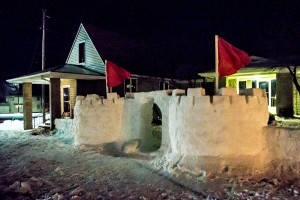 (Photo courtesy Andrew Mather) A snow fort in front of BSU building.
