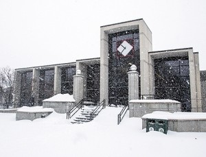 (Photo courtesy Andrew Mather) UCM's Elliot Union blanketed with snow Thursday, Feb. 21.