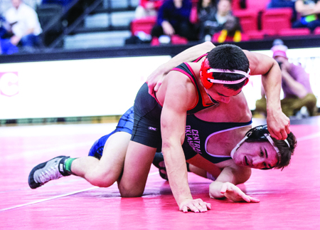 Sophomore Eric Mateo will wrestle in the NCAA-II National Championships in Birmingham, Ala. this weekend. (Photo by ANDREW MATHER, Photo Editor)