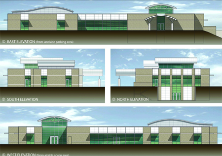 These are the designs for the new terminal, which will be located north of the existing one. (Graphic submitted)