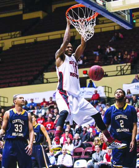 Senior Dominique Long dunks during Saturday 92-73 win over Central Oklahoma in the MIAA Tournament semifinal in Kansas City, Mo. (Photo by ANDREW MATHER, Photo Editor)