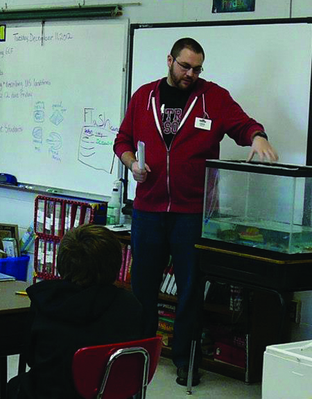 Jordan Gray speaks to a fifth-grade class at Sterling Elementary School. (Photo submitted)