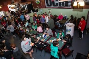Racers enjoying breakfast inside of Blaine's Bar & Grille.