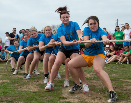 Delta Zeta Sorority competes in the tug competition, the main event in Sunday's Greek Week Games Day. (Photo by ANDREW MATHER, Photo Editor)