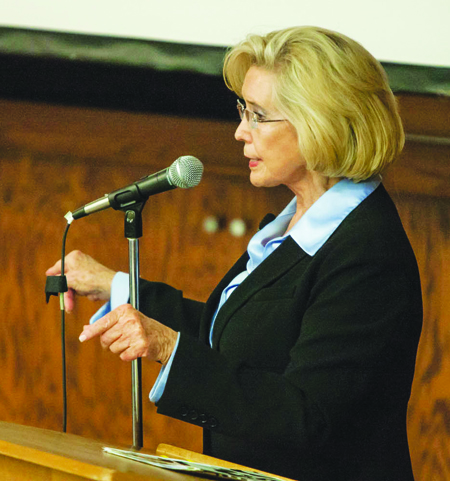 Women's equality activist Lilly Ledbetter spoke about helping create the Lilly Ledbetter Fair Pay Act when she came to campus last Wednesday. (Photo by NICHOLAS HALL, for The Muleskinner)