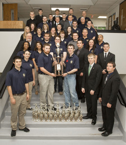 Members of the UCM Criminal Justice team display their numerous accolades received during the national championships.