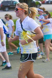 Julia Bates, a setter on the UCM volleyball team, is excited to be a participant in The Color Run.