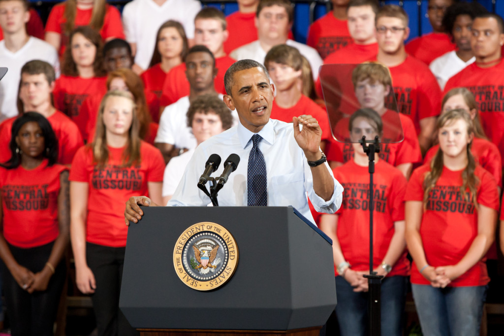 Photo by: TAZ HALL (digitalBURG) President Obama visited Warrensburg to speak about the economy and to commend the University of Central Missouri on its work with the Missouri Innovation Campus. The speech lasted roughly a half hour with over 1400 people in attendance.