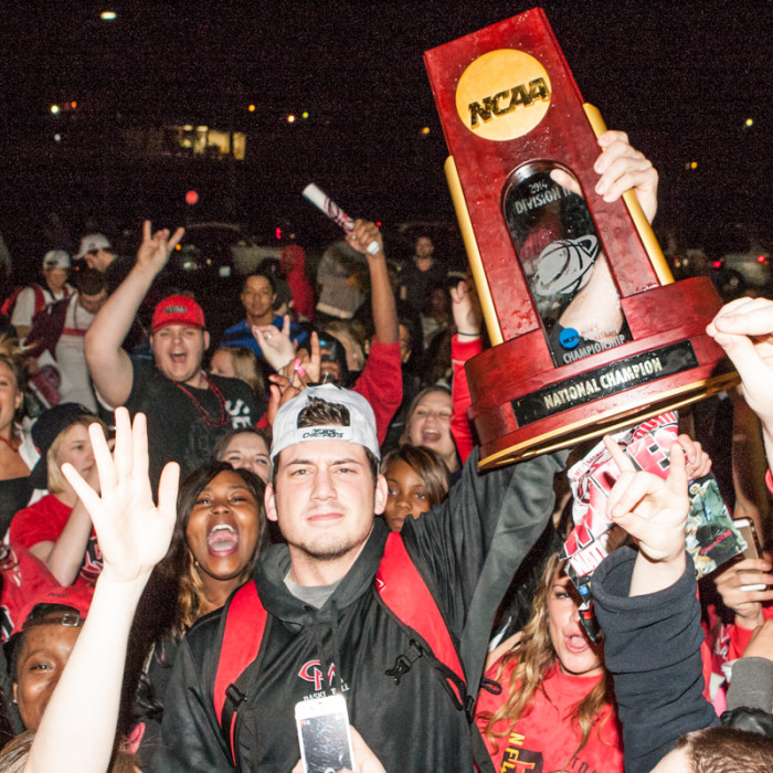 Ryan Magdziarz held the trophy high in the air as camera and smartphone flashes fired all around.