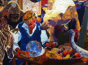 """Detail from """"No Room at The Table"""" by Annie Helmericks-Louder."""
