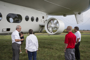 Tour Guide David Burne (left) and Mats Backlin (right) explain the aircraft's history to Ann Houx, of Warrensburg, and Matt Fischer, of Warrensburg.