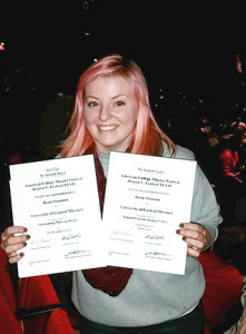 """Rosie Swanson wins 1st place in National Costume Design for the dance piece """"Stowaway"""", and a commendation for outstanding makeup design for """"The Wedding Singer"""" Jan. 25 at the Kennedy Center American College Region V Theatre Festival held in Minneapolis."""