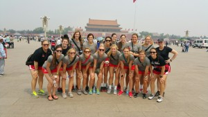 PHOTO SUBMITTED BY JENNIES VOLLEYBALL Jennies volleyball pose in front of the Forbidden City. Through the UCM Foundation, the team traveled to China to face international competition and take in the culture on an 11-day trip to Beijing.