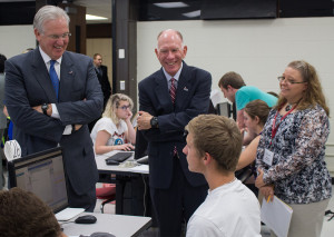 By BRANDON BOWMAN/PHOTO EDITOR (From left) Gov. Nixon and President Chuck Ambrose speak with freshman Jesse Lynch, conservation enforcement major, Tuesday about why he chose to attend UCM.
