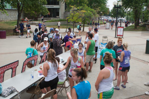 Students gather around to support a great cause and to have a little fun at the Pie a Pi and Egg an Ep event last week at the Union.