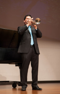 "PHOTOS BY BRANDON BOWMAN / PHOTO EDITOR Alan Wenger, music professor, opens the faculty showcase with ""Trumpet Call."""