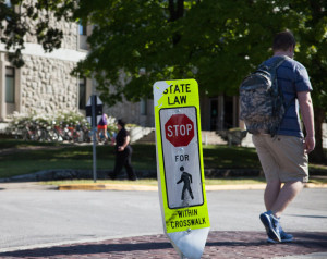 PHOTO BY BRANDON BOWMAN / PHOTO EDITOR Crosswalk signs around campus have taken damage and 13 have been taken since their installment in mid-April.